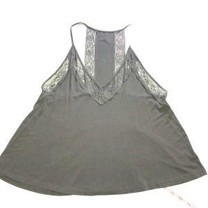 AE Boho Babydoll Lace Racerback Tank Top Lead Gray Size Small